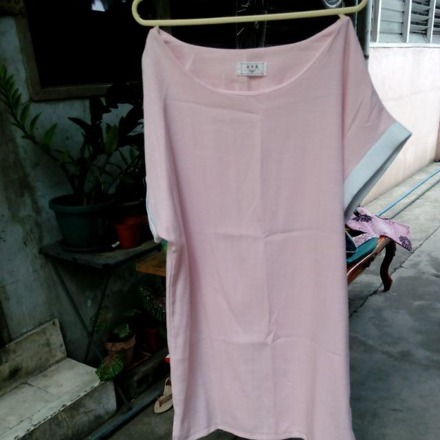 Baby Pink Dress with white lining details