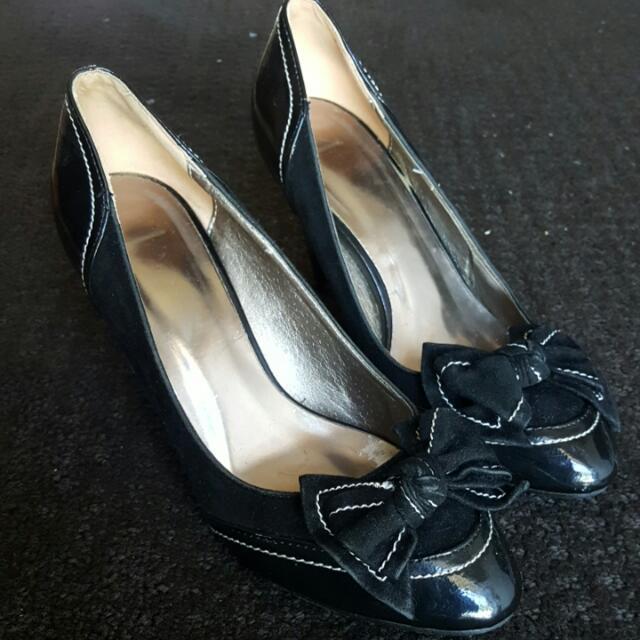 Black Bow Short Heels