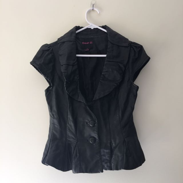 BLACK LEATHER LOOK PPEPLUM TOP