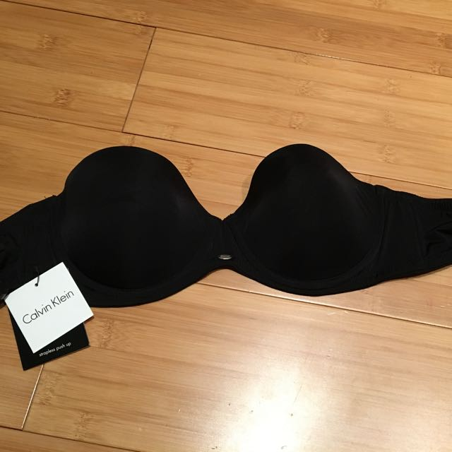 Calvin Klein Black Push Up Strapless Bra 34B 12B