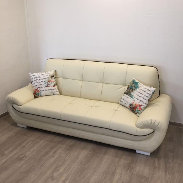 3 Seater Cream Leather Sofa