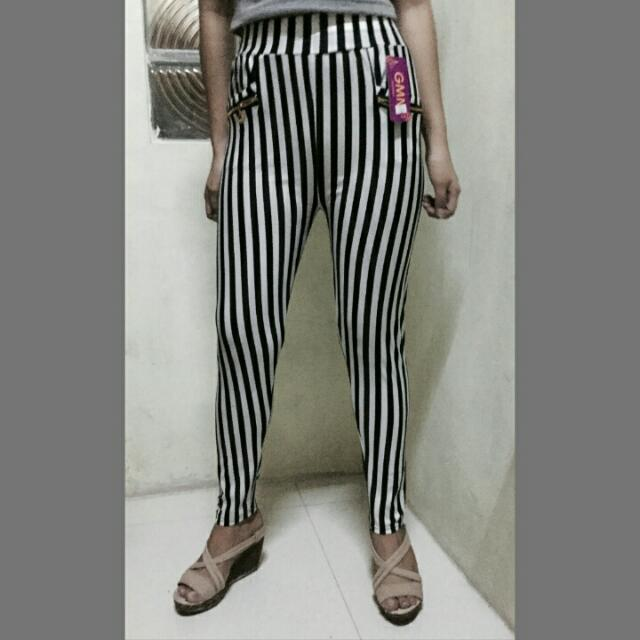 Elegant Stripe Print Basic Pants Stretchable