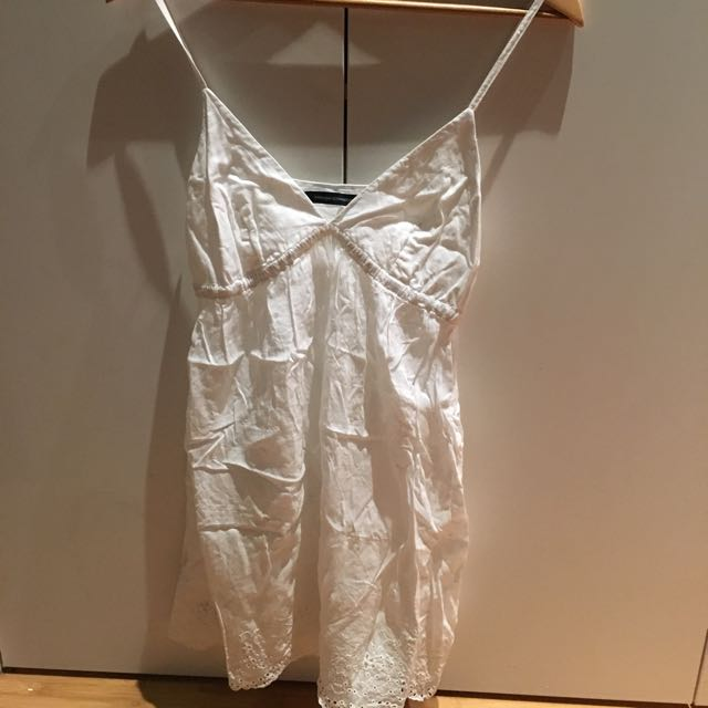 French Connection White Cotton Sun Dress S