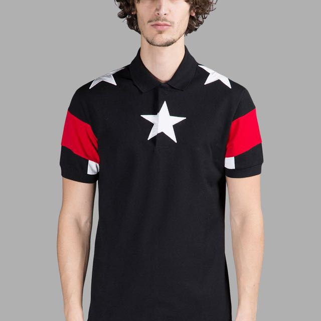 GIVENCHY MEN'S BLACK POLO SHIRT WITH STARS AND STRIPES