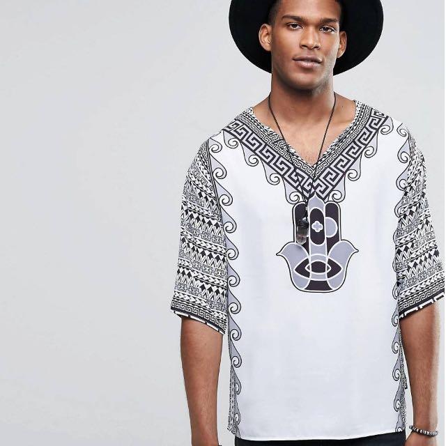 Global Print Kaftan Shirt