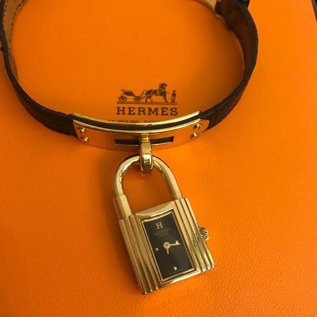 Hermes Kelly 保證真品 黑金 錶 專櫃正品