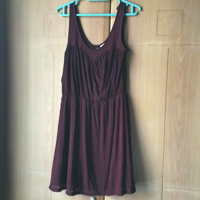 H&m Dark Maroon Dress Size 8