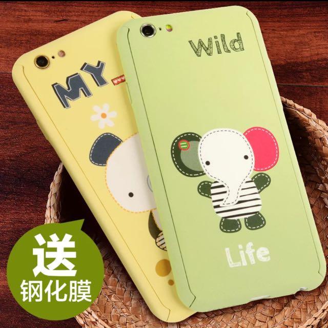 iPhone 6s Plus小象手機殼 (送專用鋼化膜、指紋按鍵貼)