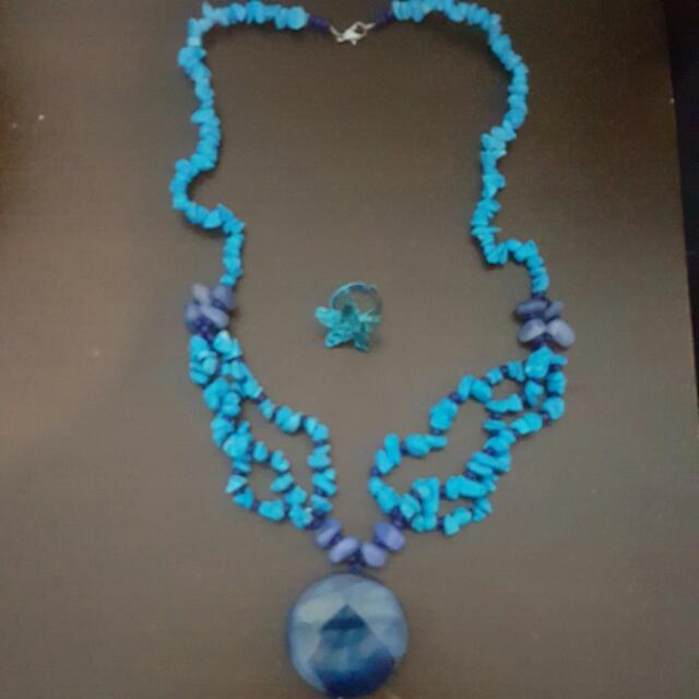 Kalung Batu + Cincin + Anting Biru Set