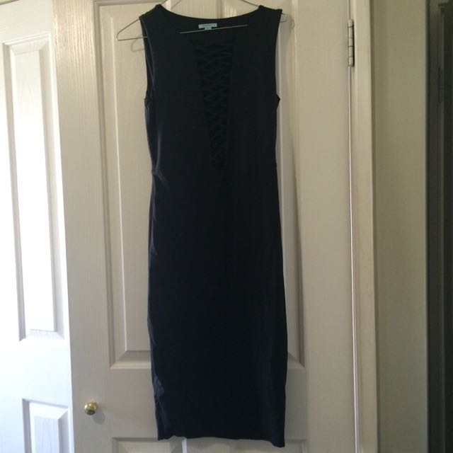 Kookai Black Lace up Dress