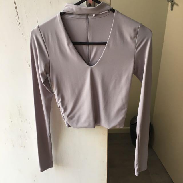 Long Sleeve Choker Crop Grey Size XXS