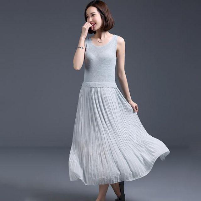 Midi Dress Skirt Long Dress Korea Fashion Wanita Blouse Kemeja