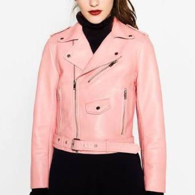 Pink Zara Faux Leather Biker Jacket