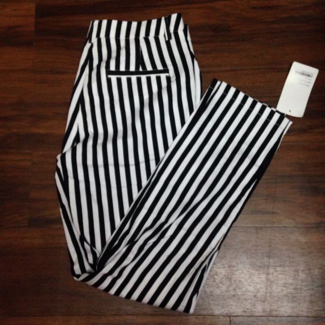 Poplook Rizzo Pants Black And White Stripes