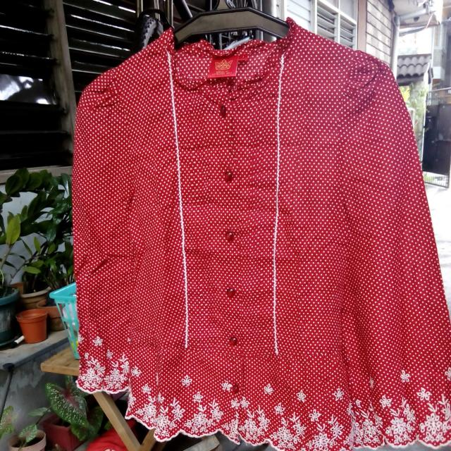 Red Polka Dot with embroidery detail top