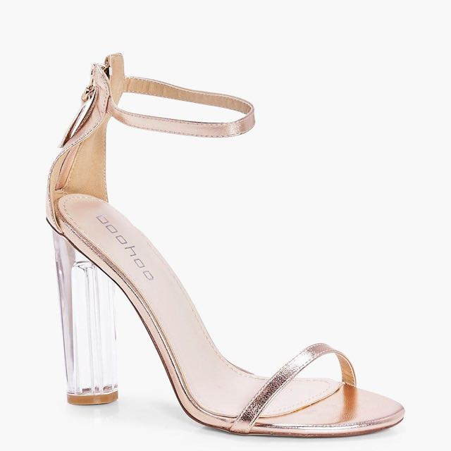 Rose Gold Sandal With A Perspex Clear Heel
