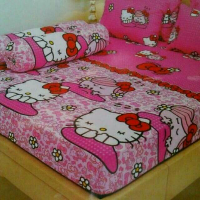 Sprei Lady Rose Disperse Motif Hello Kitty Pink Uk.180x200, Home & Furniture on