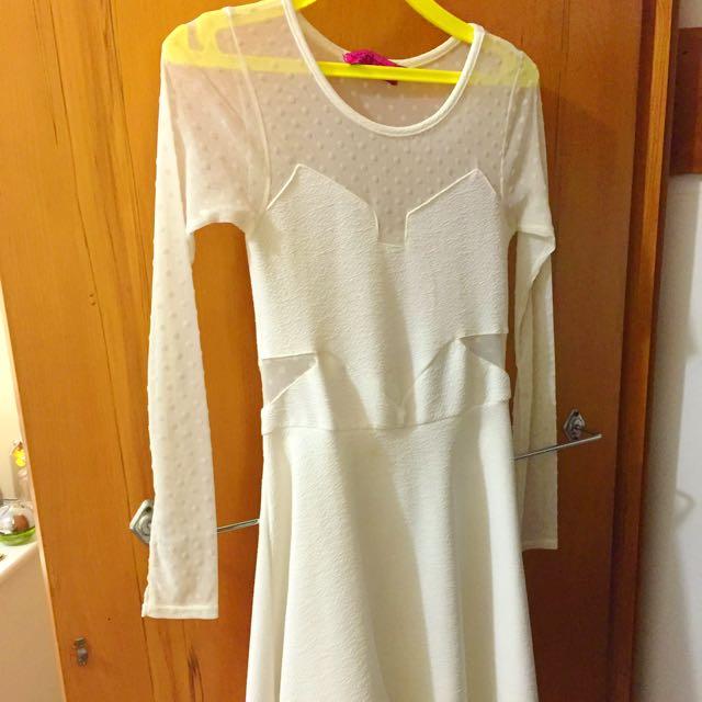 White Mesh Skater Dress