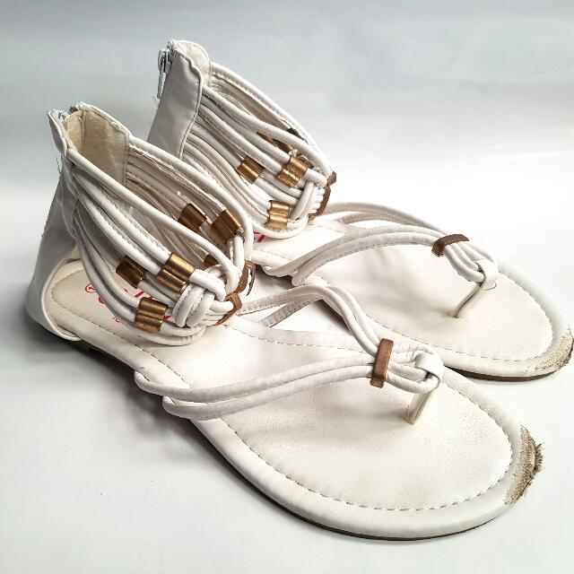 White Sandals with Gold Detailing
