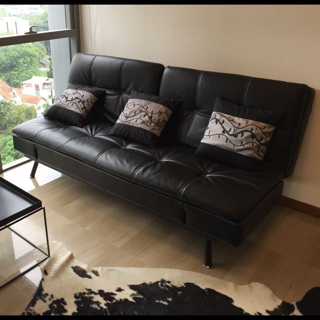 *SOLD Pending Pickup* Leather Sofa Bed 2.5 Seaters
