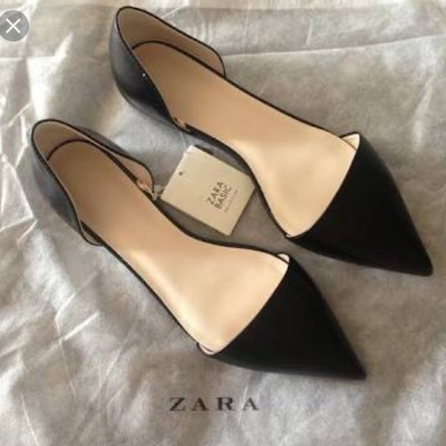 Zara Basic Black Point Toe Flats 37