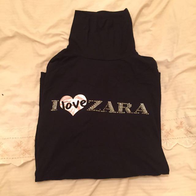 全新ZARA高領黑色棉T