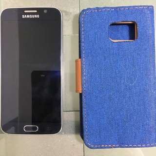 Black Samsung Galaxy S6 And GOOSPERY Wallet Case
