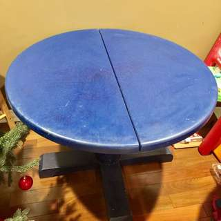 Blue Round Wood Dining Table Convertible to Oval