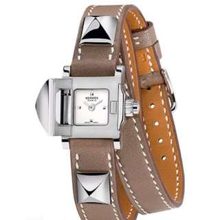 Hermes Médor Mini (Etoupe/Biege Leather with Palladium Hardware)