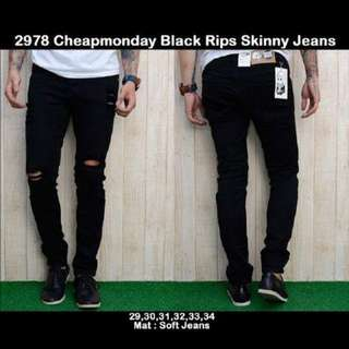 Celana Jeans Ripped / Jeans Robek Skinny Fit / Jeans Cheapmonday Black Rips
