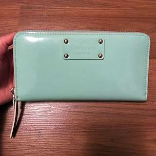 Kate Spade Tiffany Blue Patent Leather Zip Around Wallet