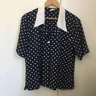Vintage Polka Dot Button Up