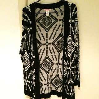 Black And White Aztec Cardigan AUS Size M