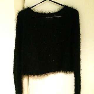 Minkpink Black Fluffy Crop Jumper Aus Size L