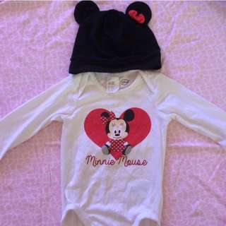 Minnie Mouse Romper And Matching Hat
