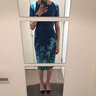 ASOS Midi Dress With Blue Floral Prints