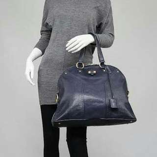 100% Authentic YSL YVES SAINT LAURENT Dark Navy Blue Muse Bag With Light Gold Hw - Very Good Condition