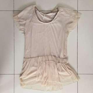 Beige Chiffon Dress Shirt