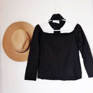 (NEW) Off-shoulder Choker Longsleeves