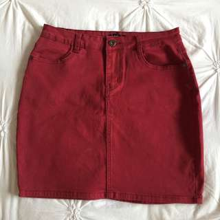 Maroon Denim Skirt