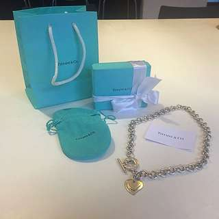 Tiffany & Co Sterling Silver Heart Charm Link Necklace
