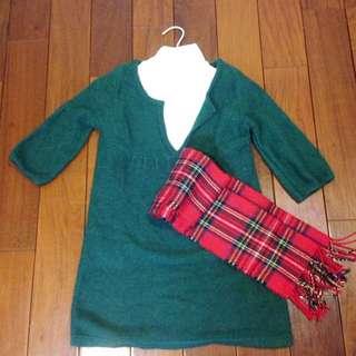 9成新❤️長版有質感綠色毛衣,可當洋裝