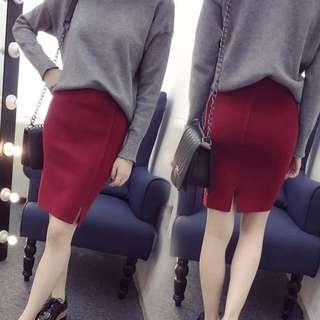 [K-498]針織彈性高腰開衩裙-包臀修身針織裙
