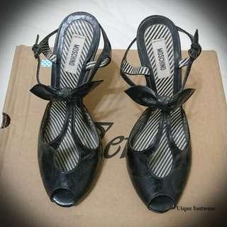 🚚 Moschino黑色甜美高跟涼鞋
