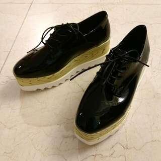 全新黑色厚底鞋