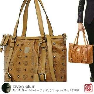 MCM Gold Visetos (Top Zip) Shopper Bag