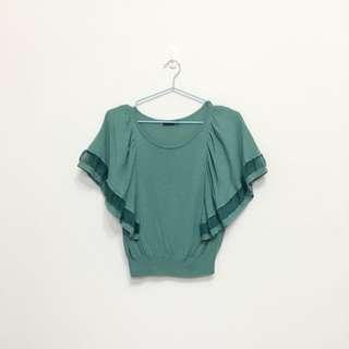 韓國帶回藍綠色傘狀袖子縮口上衣