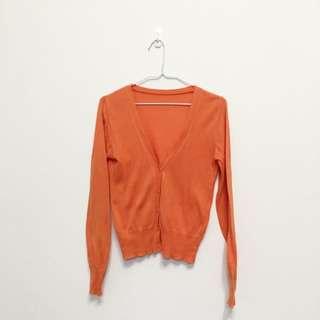 韓國帶回橘色針織小外套