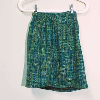 藍綠色編織窄裙
