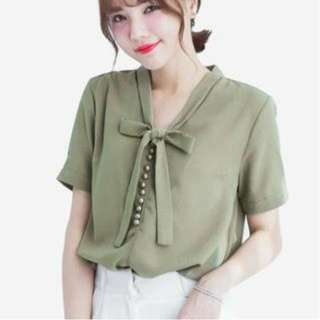 Blouse Import Taiwan MAYUKI Bow Tie Short Sleeve Green